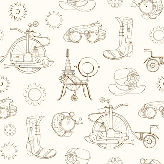 Modello senza cuciture monocromatico con attributi steampunk e abbigliamento disegnati a mano con linee di contorno su sfondo chiaro. sfondo con macchine a vapore.
