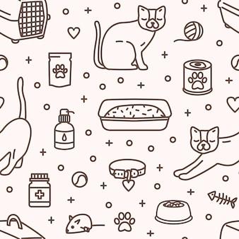 Modello senza cuciture monocromatico con strumenti e prodotti per la cura e l'intrattenimento dei gatti disegnati con linee di contorno su sfondo chiaro. illustrazione vettoriale in stile lineare per stampa su tessuto, carta da parati.