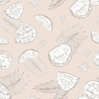 Modello monocromatico senza cuciture con noci di cocco intere e incrinate, fiori che sbocciano e rami di palma disegnati a mano con linee di contorno