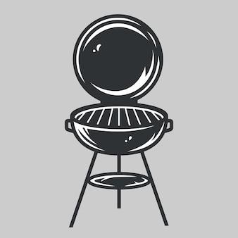 Sihluette monocromatica di grill, barbecue per picnic estivi nella foresta, campeggio e cucina per festival