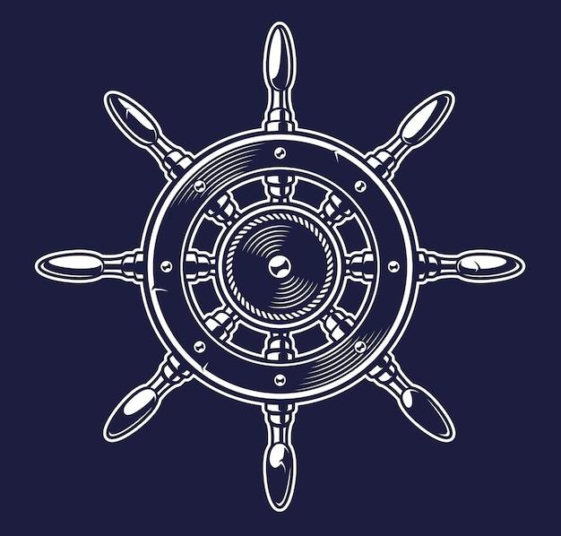 Illustrazione d'epoca monocromatica della ruota di una nave sullo sfondo scuro