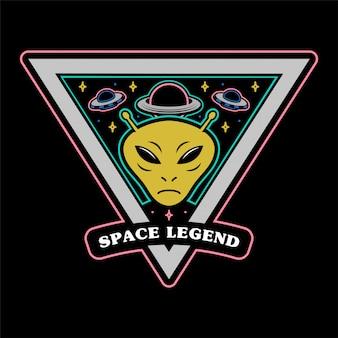 Perno adesivo icona patch monocromatico vintage con invasori alieni marziano e grande pianeta e leggenda spaziale ufo. abbigliamento stampa maglietta felpa poster mascotte logo illustrazione personaggio dei cartoni animati.