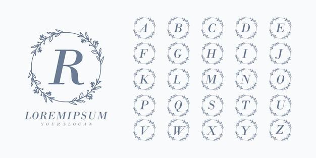 Disegnato a mano iniziale di nozze di alfabeto del monogramma