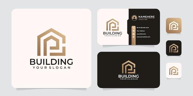 Ispirazione degli elementi di progettazione di vettore del logo della società di costruzione di architettura del monogramma