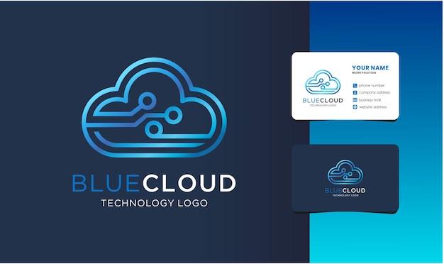 Logo nuvola monogramma con design biglietto da visita.