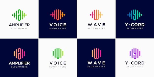 Modello di progettazione logo creativo monogramma con elemento di impulso.