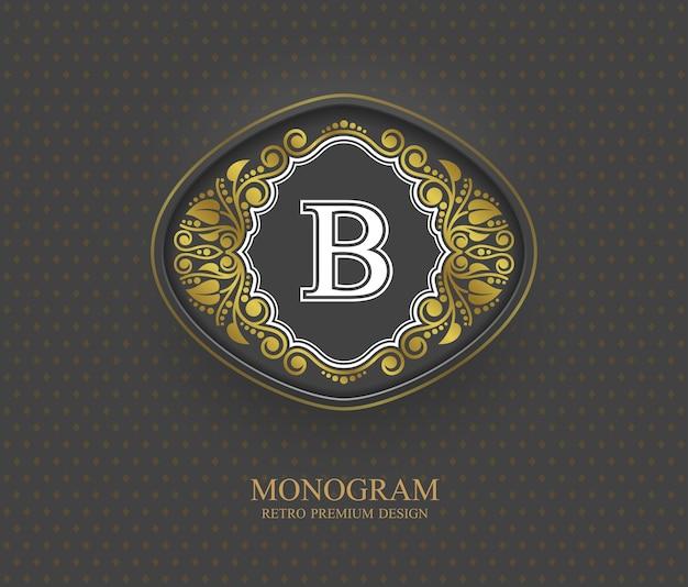 Elementi di disegno del monogramma, modello grazioso calligrafico, emblema della lettera b,