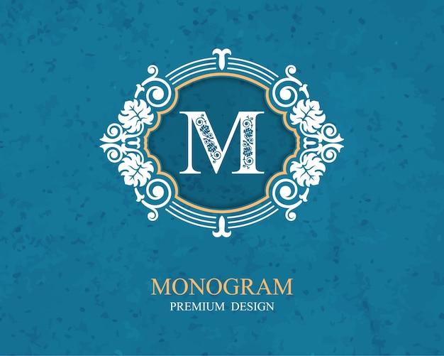 Elementi di disegno del monogramma, modello grazioso calligrafico, emblema della lettera m,