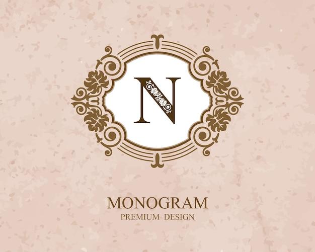 Elementi di disegno del monogramma, modello grazioso calligrafico, emblema della lettera n,