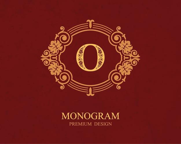 Elementi di disegno del monogramma, modello grazioso calligrafico, emblema della lettera o,