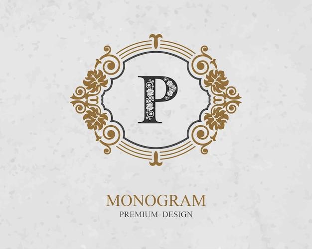 Elementi di disegno del monogramma, modello grazioso calligrafico, emblema della lettera p,