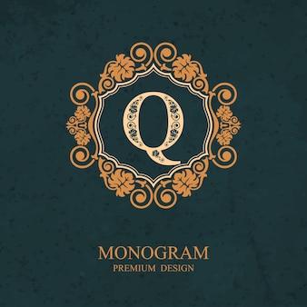 Elementi di disegno del monogramma, modello grazioso calligrafico, emblema della lettera q,