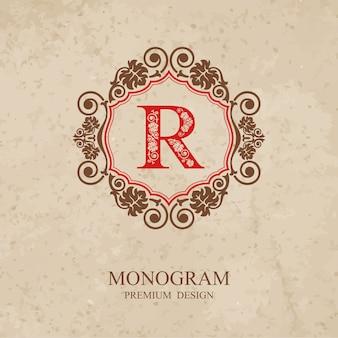 Elementi di disegno del monogramma, modello grazioso calligrafico, emblema della lettera r,