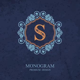 Elementi di disegno del monogramma, modello grazioso calligrafico, emblema della lettera s,