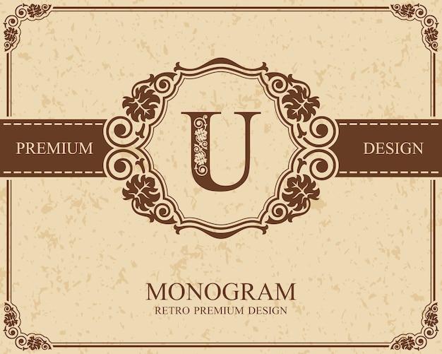 Elementi di disegno del monogramma, modello grazioso calligrafico, emblema della lettera u,