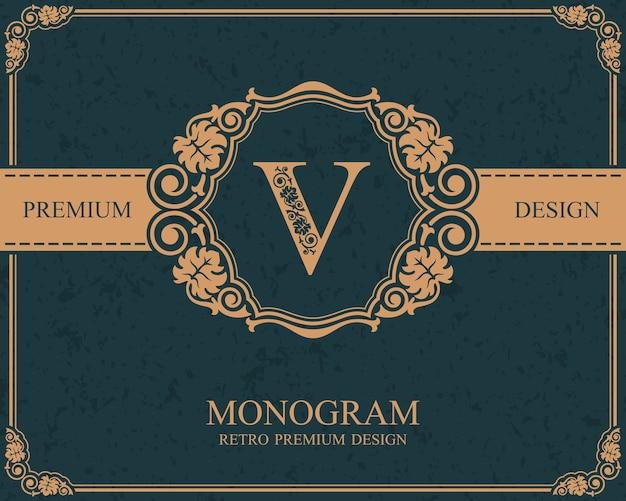 Elementi di disegno del monogramma, modello grazioso calligrafico, emblema della lettera v,