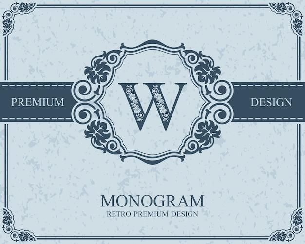 Elementi di disegno del monogramma, modello grazioso calligrafico, emblema della lettera w,