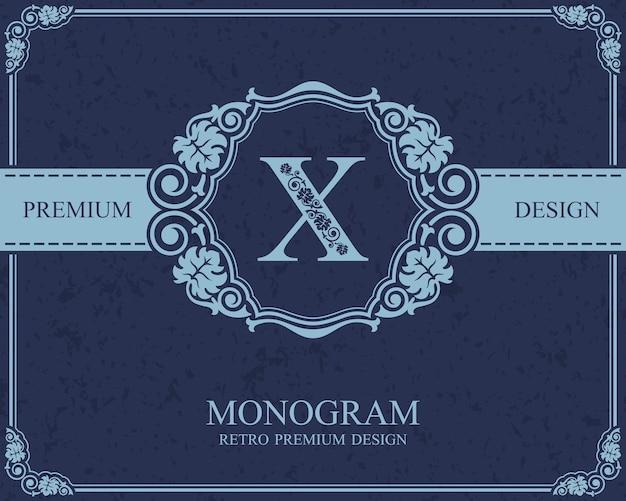 Elementi di disegno del monogramma, modello grazioso calligrafico, emblema della lettera x,
