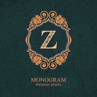 Elementi di disegno del monogramma, modello grazioso calligrafico, emblema della lettera z,