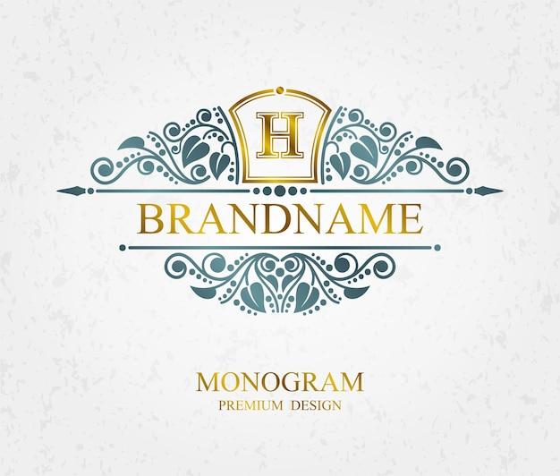 Elementi di disegno del monogramma, modello grazioso calligrafico, segno tipografico, logo di arte linea elegante, vettore eps 10