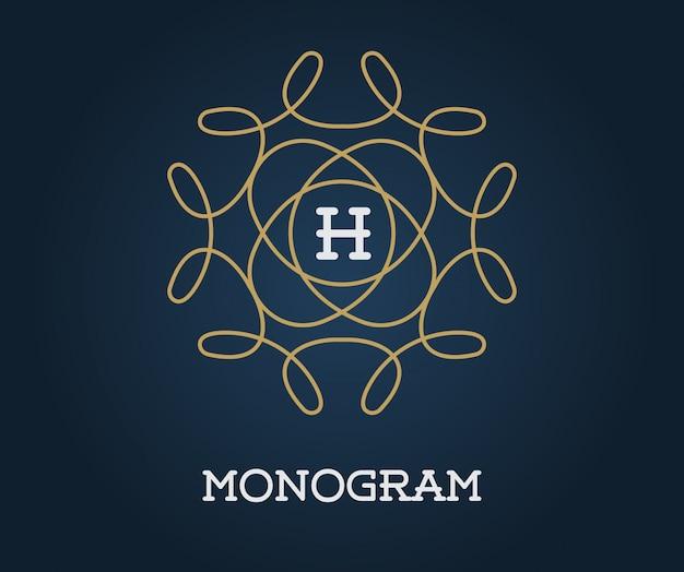 Modello di disegno monogramma con lettera illustrazione premium elegante qualità oro su blu navy