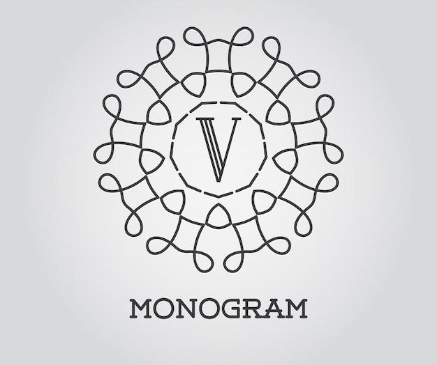 Modello di disegno monogramma con illustrazione lettera premium qualità elegante
