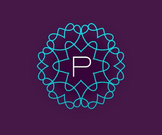 Modello di disegno del monogramma con lettera nel vettore. turchese di alta qualità elegante su viola con lettera bianca.