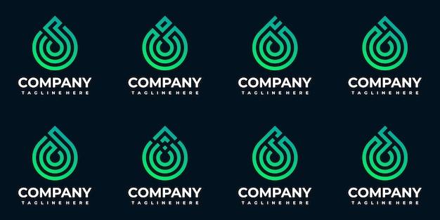 Collezione di modelli di logo goccia monogramma