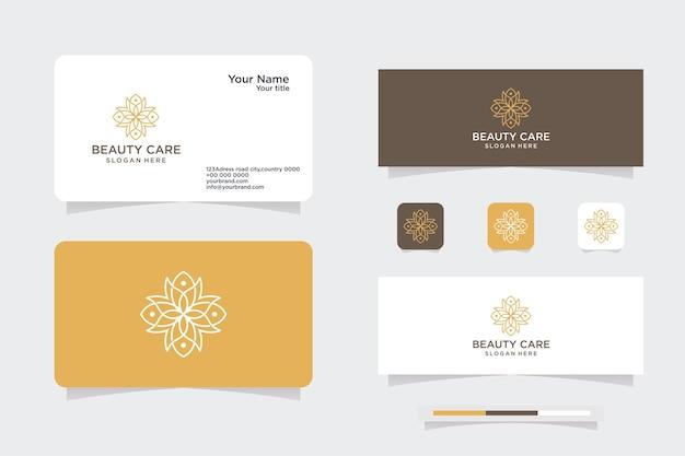 Design del logo del fiore del monogramma con modello di biglietto da visita. il logo può essere utilizzato per l'icona, il marchio, l'identità, lo yoga, la spa, la decorazione e l'azienda