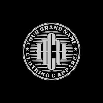 Emblema hrc monogramma per logo di abbigliamento e abbigliamento