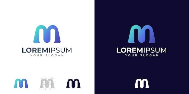 Monogramma lettera m e u logo design ispirazione