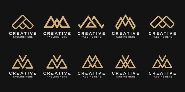 Lettera monogramma mm ma m e v logo icon set design per business di fashion sport building semplice