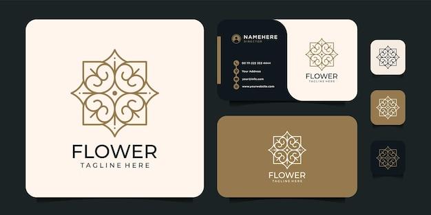 Ispirazione per il design del logo del fiore della linea del monogramma