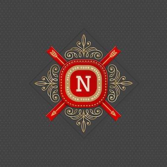 Modello di logo monogramma con svolazzi eleganti elementi calligrafici ornamento.