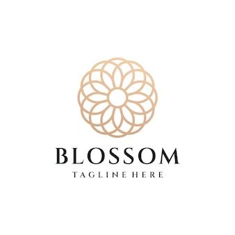 Vettore dell'illustrazione di progettazione di logo del fiore di lusso del monogramma.