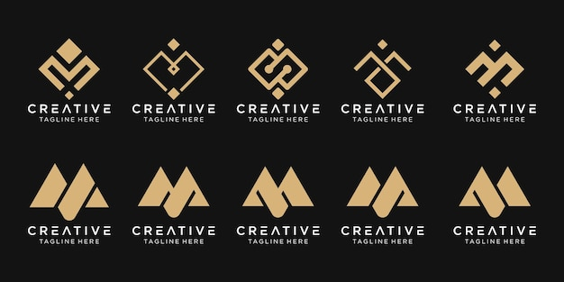Monogramma m logo icon set design per il business della tecnologia pixel sport moda