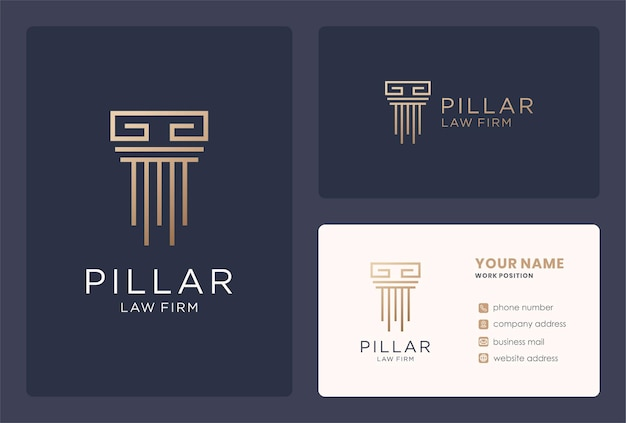 Design del logo del pilastro del monogramma per l'attività dello studio legale.