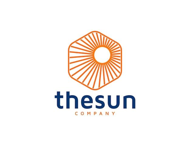 Illustrazione di design del logo del sole astratto monoline