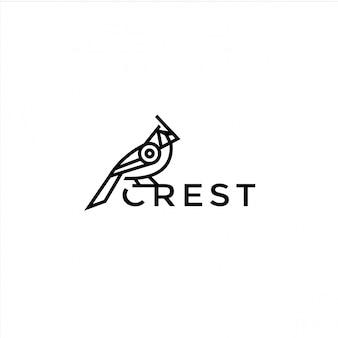 Illustrazione di progettazione di logo dell'uccello di monoline Vettore Premium