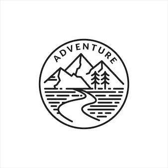 Emblema del logo monoline dell'avventura in montagna