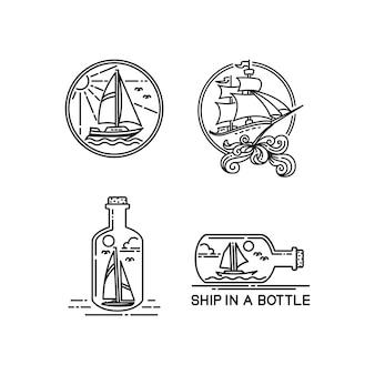 Insieme di logo di progettazione di barca a vela monoline