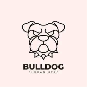 Bulldog creativo in stile monoline con logo design