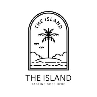 Isola tropicale in stile monoline e design distintivo della palma