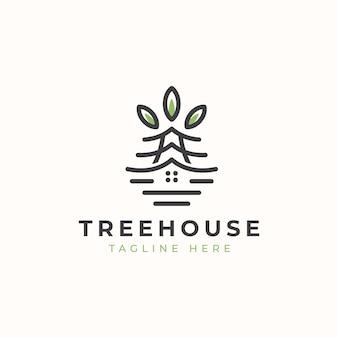 Modello di logo della casa sull'albero di monoline.