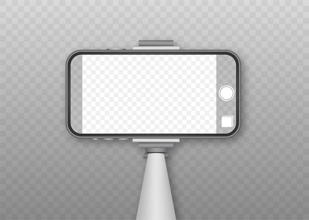 Asta monopiede per selfie con schermo vuoto per smartphone. stick per selfie. illustrazione.