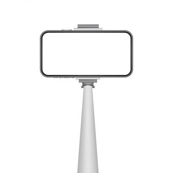 Asta monopiede per selfie con schermo vuoto per smartphone. stick per selfie. illustrazione di riserva.