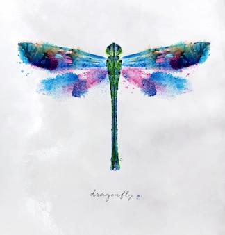 Disegno variopinto chiaro della libellula di monotype con differenti colori su fondo di carta