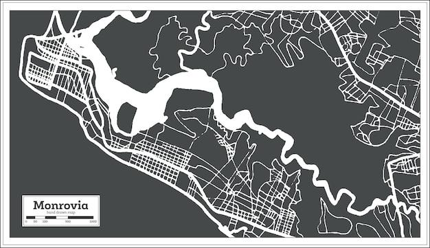 Mappa della città di monrovia liberia in stile retrò. mappa di contorno. illustrazione di vettore.