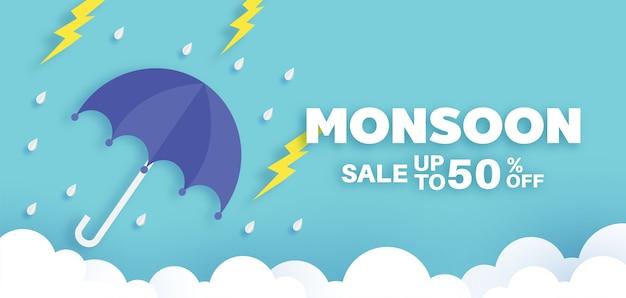Banner di vendita dei monsoni per la stagione delle piogge.