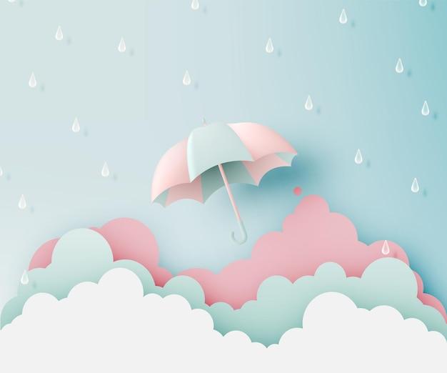 Vendita di banner stagione dei monsoni con combinazione di colori pastello e illustrazione vettoriale in stile arte cartacea